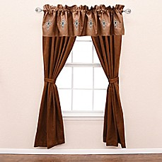 image of HiEnd Accents Las Cruces II Window Curtain Panels and Valance in Brown/Tan