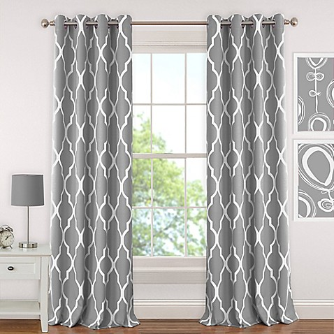 Buy Elrene Emery 63 Inch Room Darkening Grommet Top Window Curtain Panel In Grey From Bed Bath