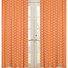 image of Sweet Jojo Designs Arrow Window Panel Pair in Orange/White