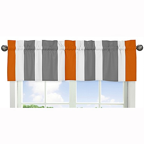 sweet jojo designs grey and orange stripe window valance. Black Bedroom Furniture Sets. Home Design Ideas