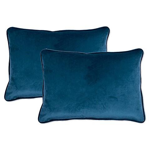 Buy Sherry Kline Richmond Velvet Boudoir Oblong Throw Pillow in Navy/Blue (Set of 2) from Bed ...