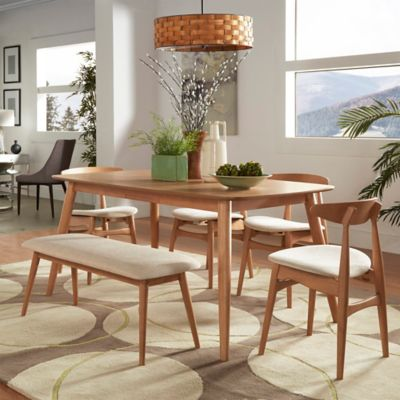 image of Verona Home Paloma Mid-Century 6-Piece Dining Set in Natural/Beige