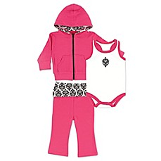 image of BabyVision® Yoga Sprout 3-Piece Damask Bodysuit, Hoodie, and Pant Set in Pink