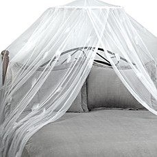 image of Feather White Bed Canopy and Mosquito Net