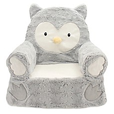 image of Plush Owl Sweet Seat Chair in Grey