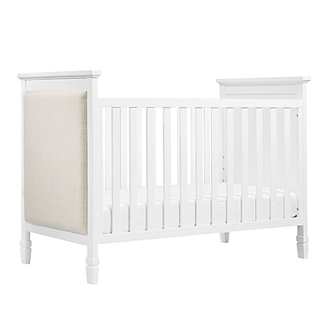 davinci lila 3in1 convertible crib in white with oatmeal linen fabric
