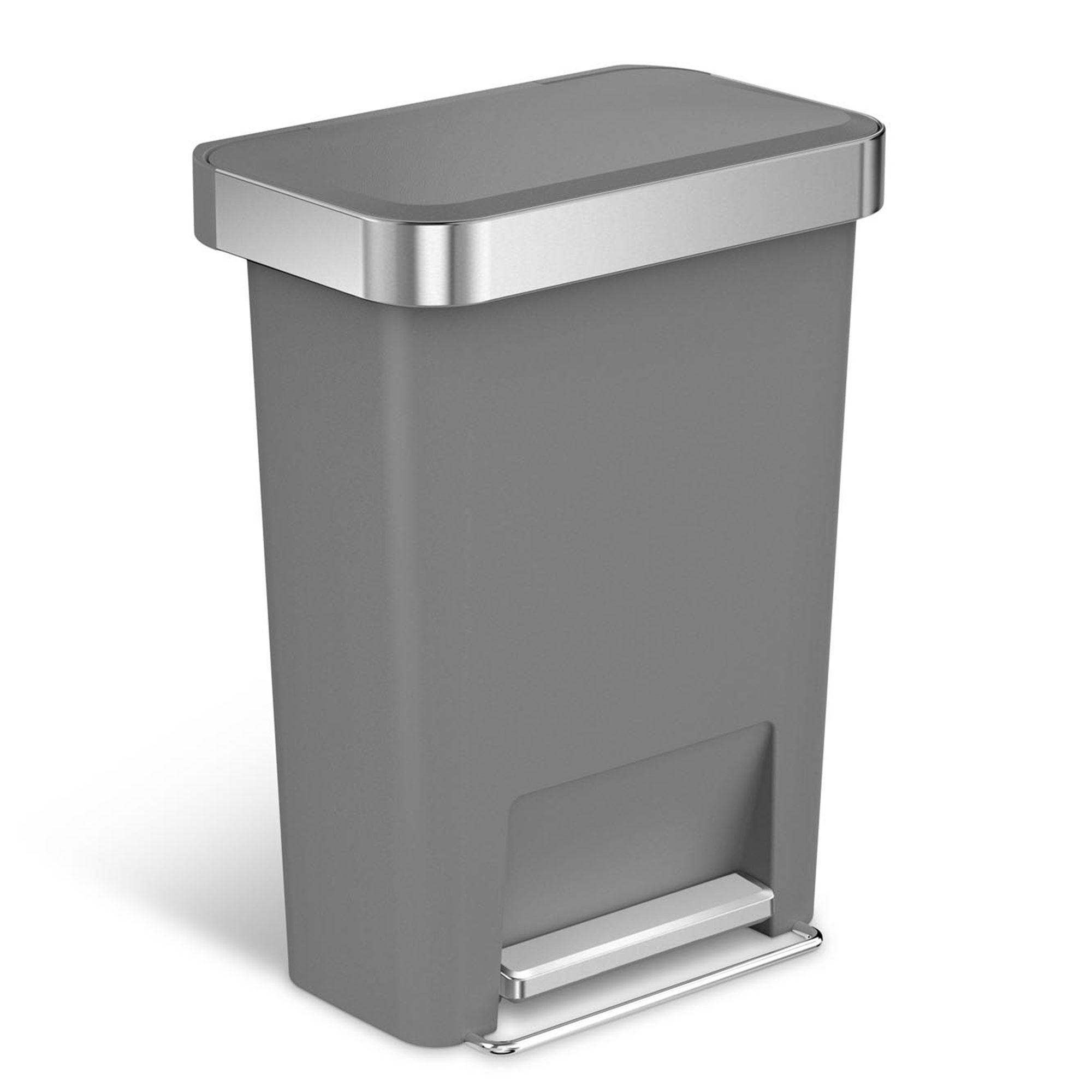 simplehuman繧箘 45 liter plastic rectangular step trash can with