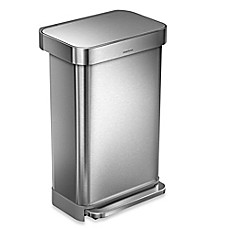 image of simplehuman 45-Liter Rectangular Liner Rim Step Trash Can with  Liner Pocket