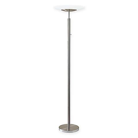 Adessor stellar brushed steel torchiere floor lamp bed for Torchiere floor lamp bed bath and beyond