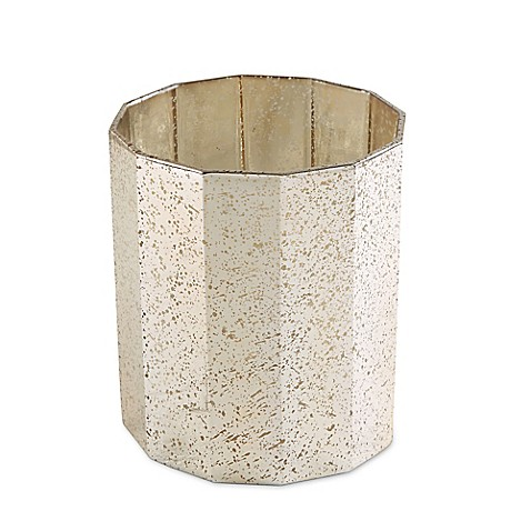 Jla dogecagon glass wastebasket in gold bed bath beyond for Gold bathroom wastebasket