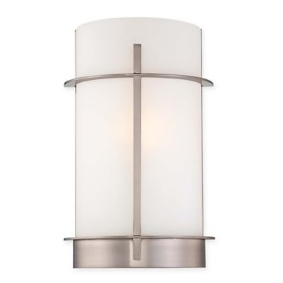 Minka Lavery 13-Inch Wall Sconce in Brushed Nickel with Etched Opal Glass Shade - Bed Bath & Beyond