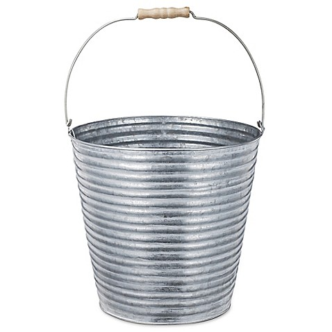 Buy a b home metal planter bucket in silver from bed bath for Metal bucket planter