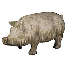 image of A&B Home Wilbur Pig Standing Accent Garden Statue Grey/Green