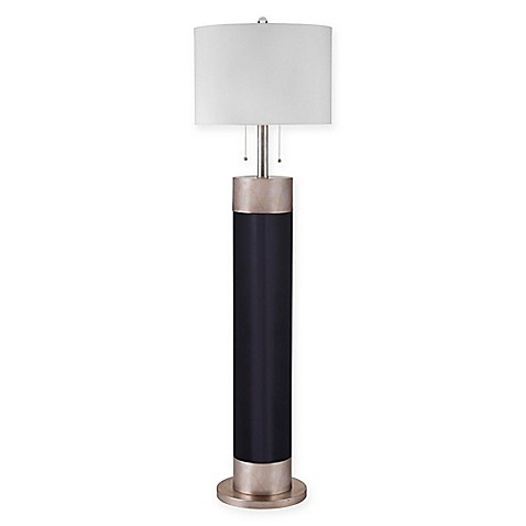 Bassett mirror company lucie floor lamp in black silver for Silver mirror floor lamp