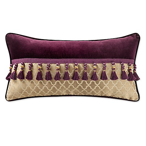 Buy Waterford Linens Carlotta Tassel Oblong Throw Pillow in Gold/Purple from Bed Bath & Beyond