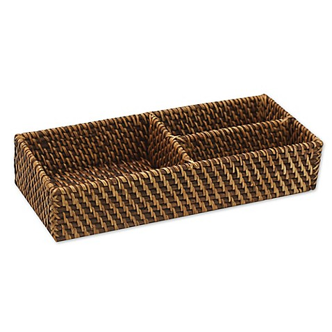 Baum Atlantic Hapao Rattan Divided Tank Tray In Brown Bed Bath Beyond