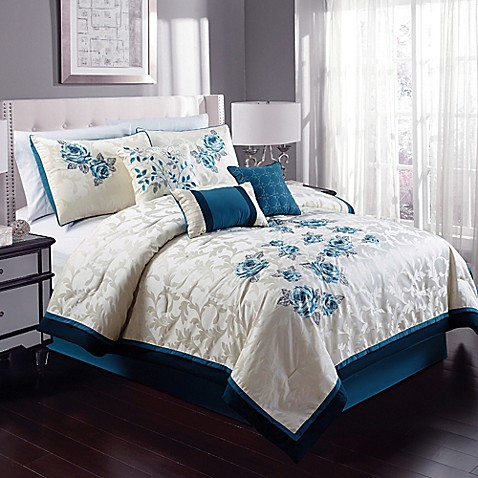 Buy Melrose 8 Piece California King Comforter Set In Teal