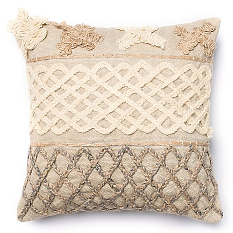 Throw Pillow Down : Loloi Braided Applique Square Down Throw Pillow in Beige/Brown - Bed Bath & Beyond