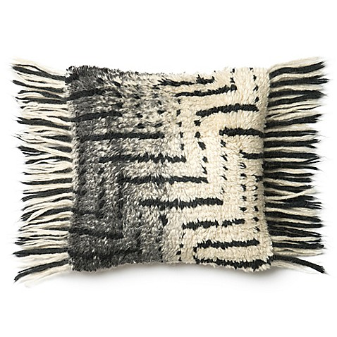 Loloi Horizontal Fringe Square Throw Pillow in Black/Ivory - Bed Bath & Beyond