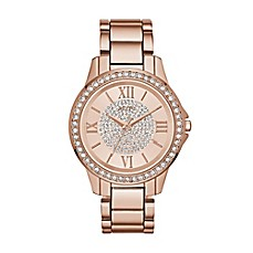 image of Relic® Karsen Glitz Ladies' 38mm Rose Pave Dial Watch in Rose Goldtone Stainless Steel