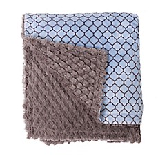 image of Baby Laundry Minky Lattice/Tile Blanket in Blue/Grey