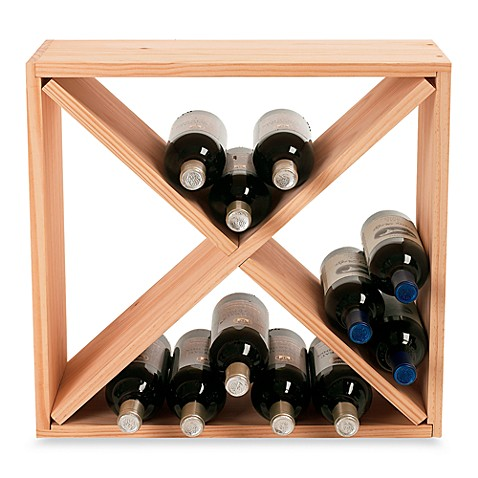 image of wine enthusiast 24bottle wooden wine rack cube