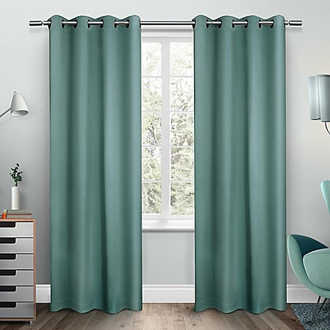 Buy Exclusive Home Sateen 84 Inch Room Darkening Grommet Top Window Curtain Panel Pair In Teal