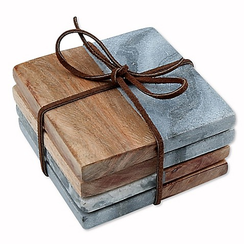 thirstystone grey marble acacia coasters set of 4 bed bath beyond. Black Bedroom Furniture Sets. Home Design Ideas