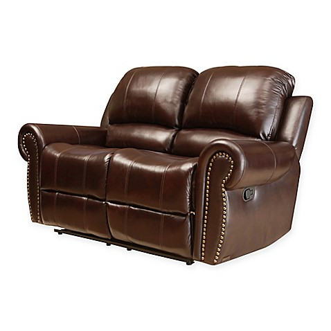 Abbyson living sedona leather loveseat in burgundy bed bath beyond Burgundy leather loveseat