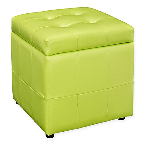 Buy Modway Tufted Leatherette Ottoman In Light Green From