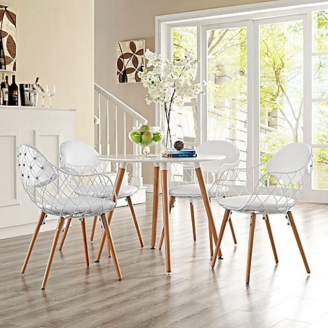 Modway Metal Basket Dining Chairs In White