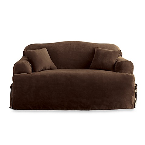 Sure fit soft suede t cushion loveseat slipcover bed bath beyond Loveseat t cushion slipcovers