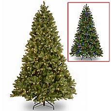 image of national tree company downswept douglas fir pre lit christmas tree with dual color - Pre Lit Christmas Tree