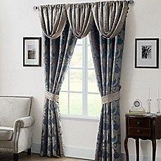 image of Waterford® Linens Chateau Lake Window Curtain Panels and Valance in Slate/Taupe