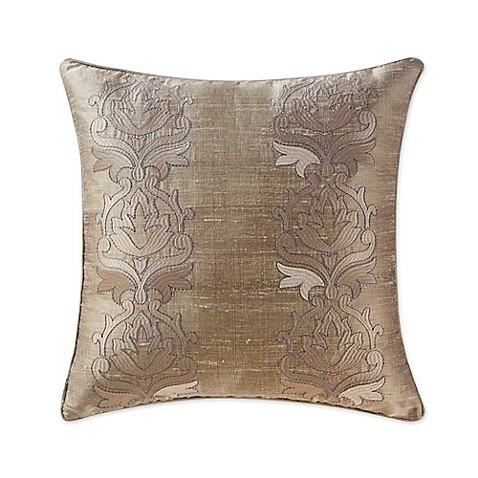 Buy Waterford Linens Chateau Lake 16-Inch Square Throw Pillow in Taupe from Bed Bath & Beyond
