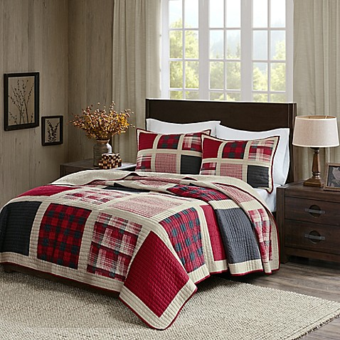 Woolrich 174 Huntington Reversible Quilt Set In Red Bed