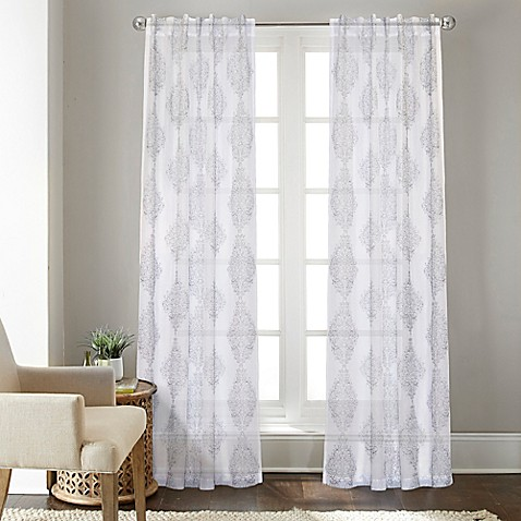 Talia 63 Inch Rod Pocket Back Tab Sheer Window Curtain Panel In Grey