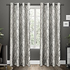 image of Exclusive Home Branches Grommet Top Window Curtain Panel Pair