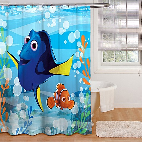 finding dory adoryble shower curtain bed bath beyond. Black Bedroom Furniture Sets. Home Design Ideas