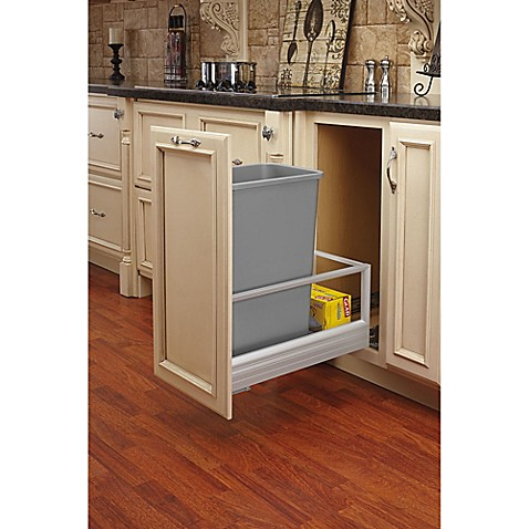 Rev a shelf brushed aluminum pull out waste containers in for Brushed aluminum kitchen cabinets