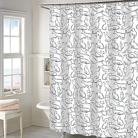 Superb Cats Shower Curtain In White