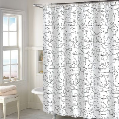 Periodic table of elements shower curtain bed bath beyond cats shower curtain in white urtaz Images