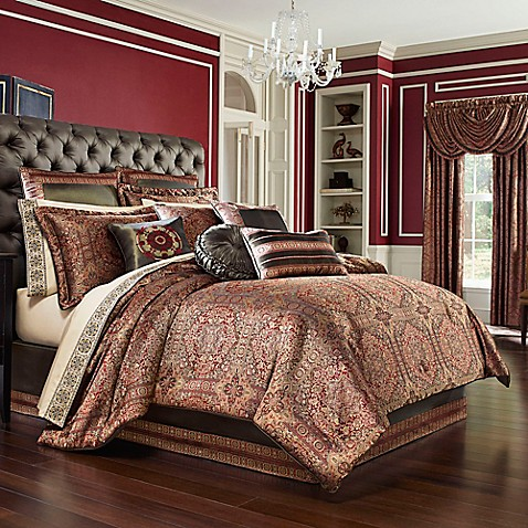 J Queen New York Bridgeport Comforter Set In Red Bed