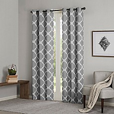 image of Madison Park Essentials Merritt Printed Fret Grommet Window Curtain Panel Pair