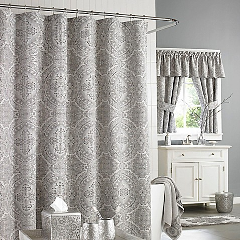 J Queen New York Colette Shower Curtain In Silver Bed
