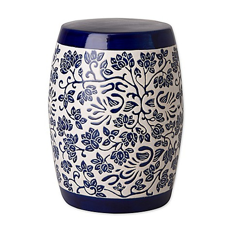 Buy Emissary Amarante Ceramic Garden Stool In Blue White