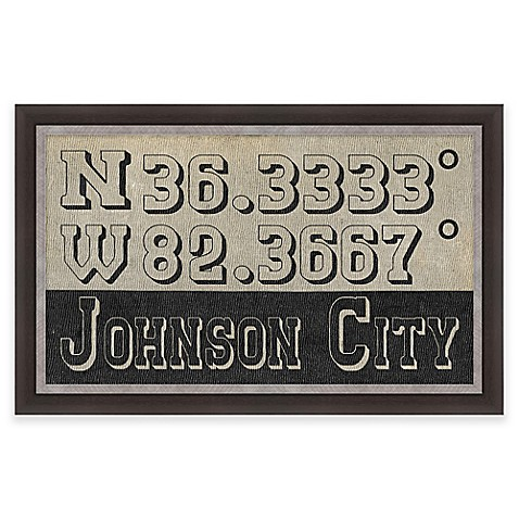 Johnson City Tennessee Coordinates Framed Wall Art Bed