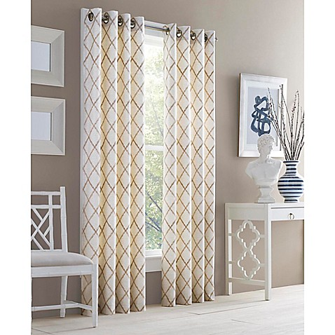Buy J Queen New York Adorn 95 Inch Grommet Top Embroidered Window Curtain Panel In Gold From