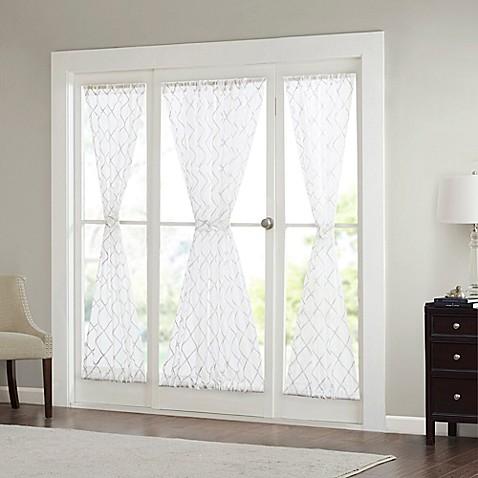 madison park irina 72 inch rod pocket sheer door panel in white grey bed bath beyond. Black Bedroom Furniture Sets. Home Design Ideas