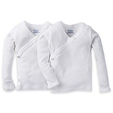 image of Gerber® 2-Pack Side Snap Long Sleeve Shirts in White